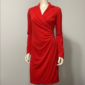 Express wrap style long sleeve dress with collar
